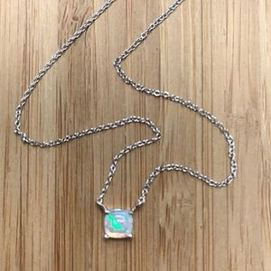 WhiteOpal Solitaire SterlingSilver Dainty Necklace
